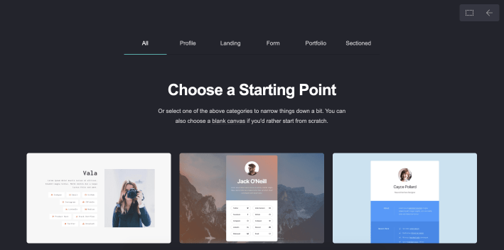 Carrd Choose A Starting Point Page