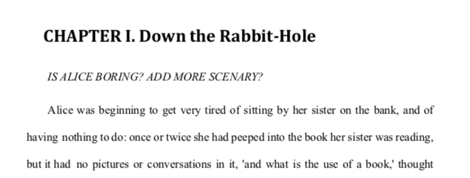 Example of guided questions added to a manuscript for editing