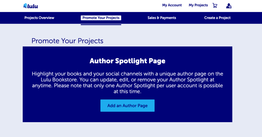 Promote My Projects - Create an author spotlight
