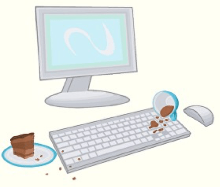 Cartoon computer with food spilled on it