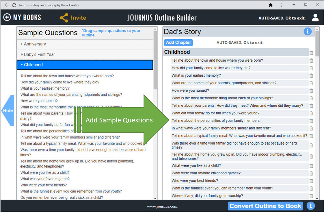 Journus Outline Builder with specific question selections