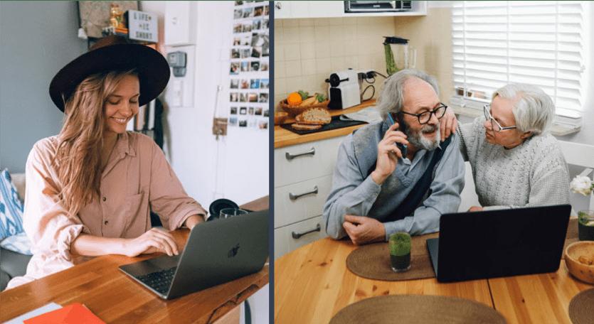 Stock image - family talking via phone
