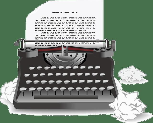 Typewriter graphic image https://pixabay.com/vectors/typewriter-antique-old-machine-159878/