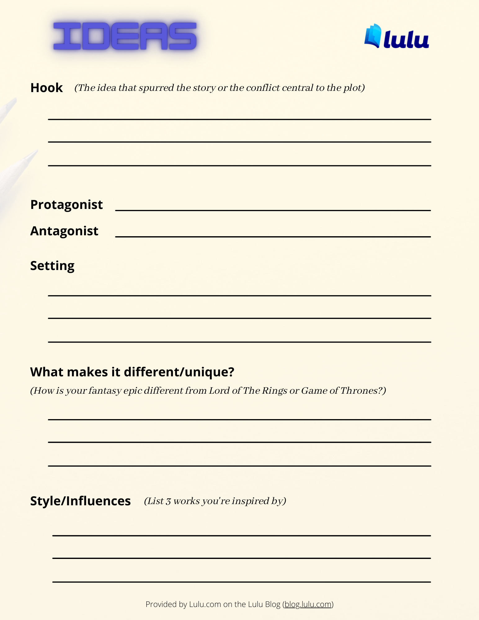 Pauls Idea Form - Get your ideas in order!