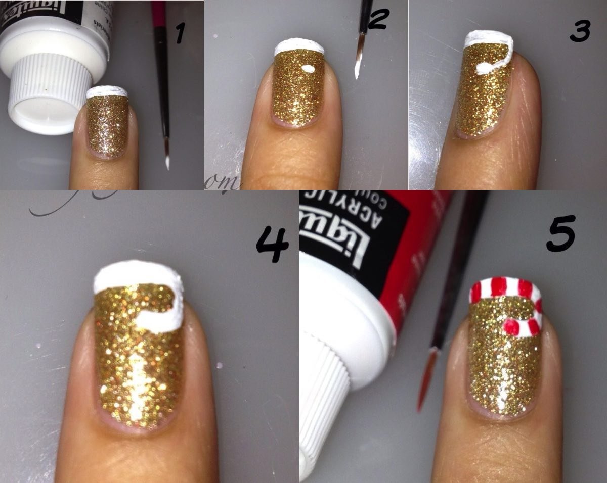 Geous D I Y Christmas Nail Art Designs Candy Cane