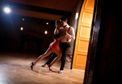 Beautiful dancers performing an argentinian tango dance