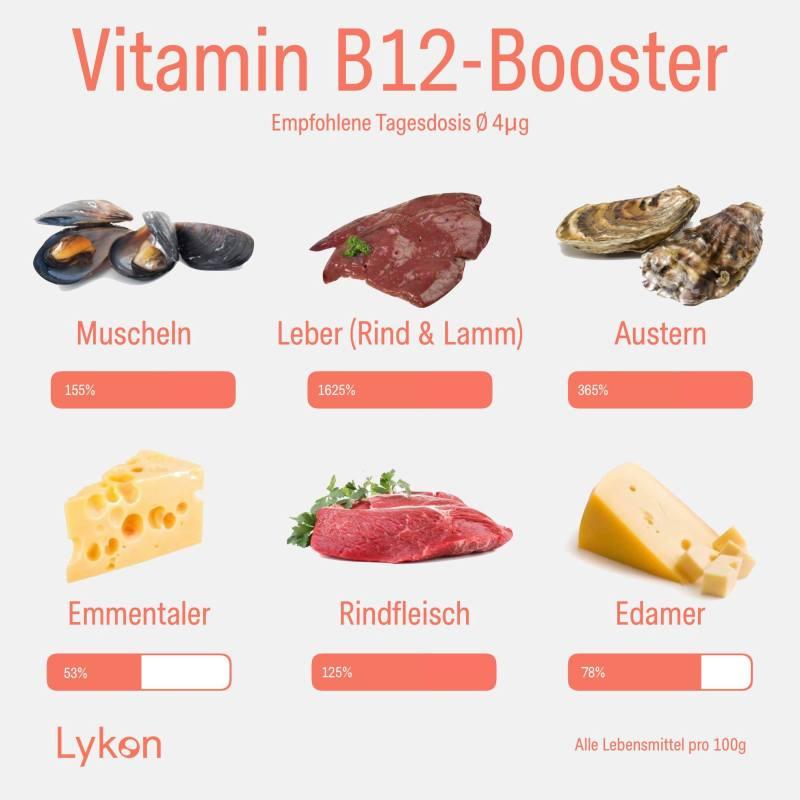 Vitamin B12 reiche Lebensmittel wie Leber, Muscheln, Austern, Käse und Fleisch