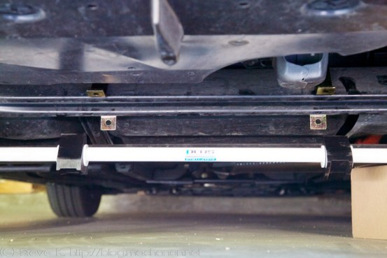 Prius PLUS rear sway bar positioned for mounting