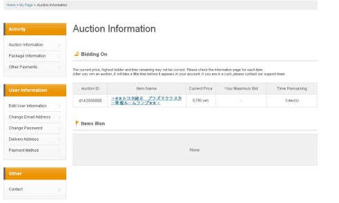 Buyee auction watch page