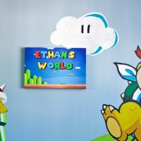 Nintendo Super Mario themed baby nursery, featuring a Bowser Jr. wall mural