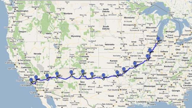 Mapa Rota 66 EUA