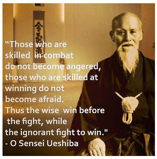 Those who are skilled in combat do not become angered, those who are skilled at winning do not become afraid. Thus the wise win before the fight, while the ignorant fight to win. - O'Sensei Ueshiba