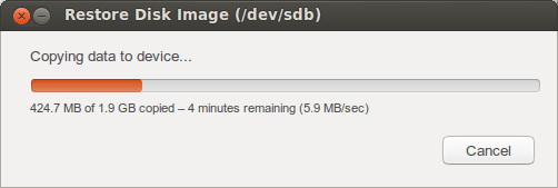 Once you confirm, you just have to wait until it finish writing the disk image.