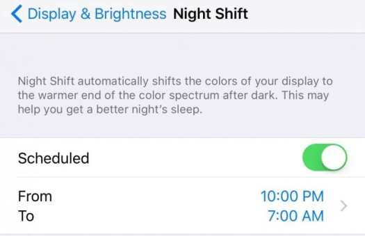 iOS 9.3 Night Shift is enabled