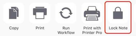 iOS Lock Note Button