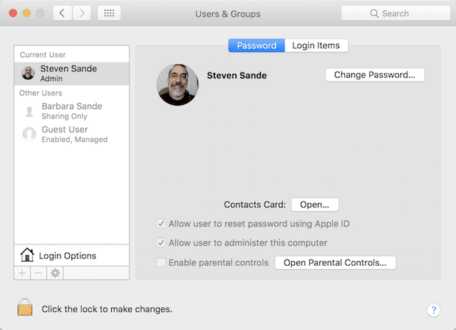 The Users & Groups Preference Pane