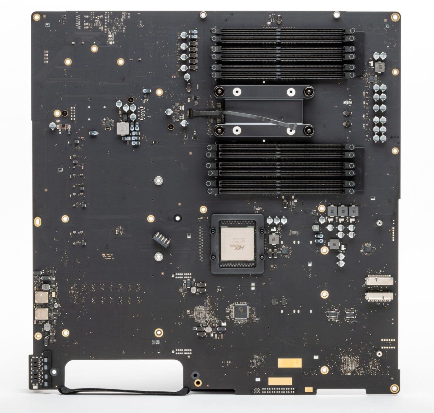 2019 Mac Pro – Logic board side with slots for RAM
