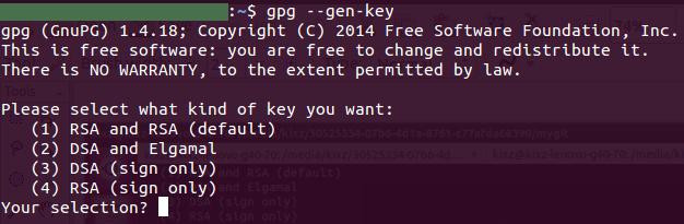 GPG key generation