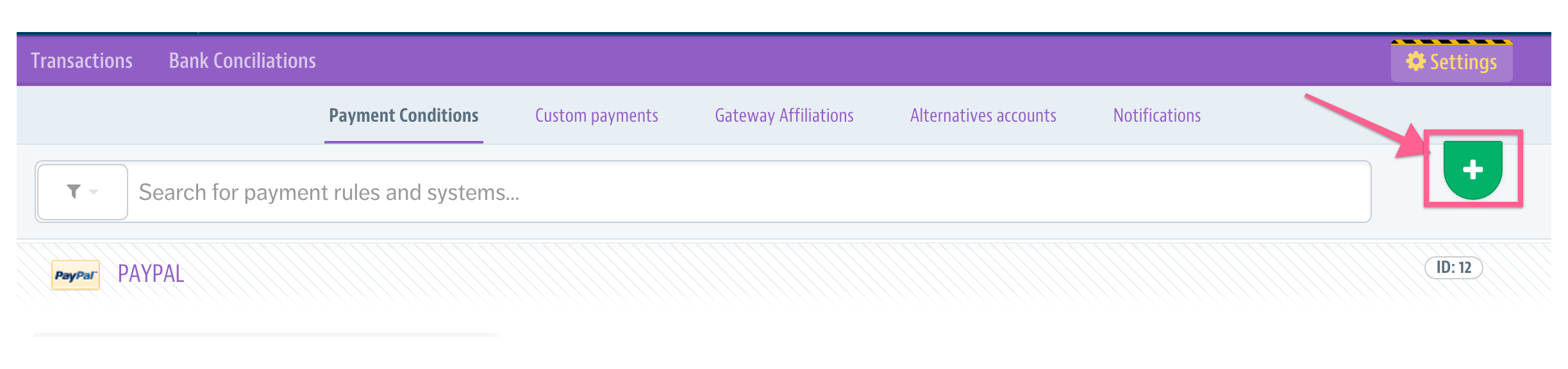 add payment condition vtex admin panel