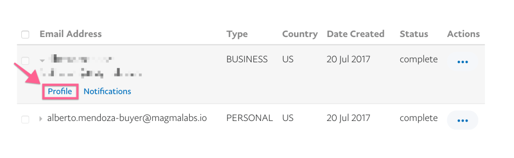profile link paypal sandbox account