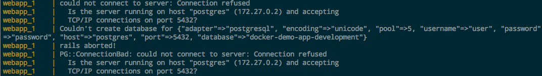 docker database error