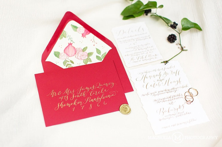 invitation suite with gold hand lettering