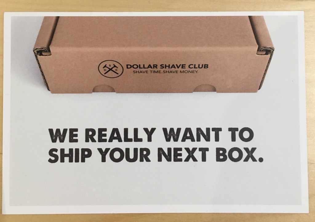 Dollar shave club postcard