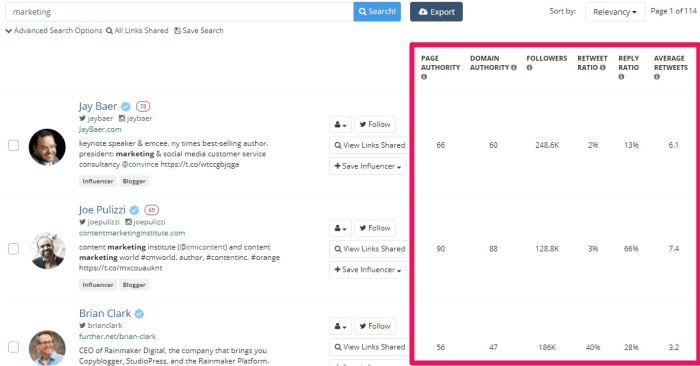 With Buzzsumo, you can find influencers in your specific industry by searching for a topic or domain in the search bar.