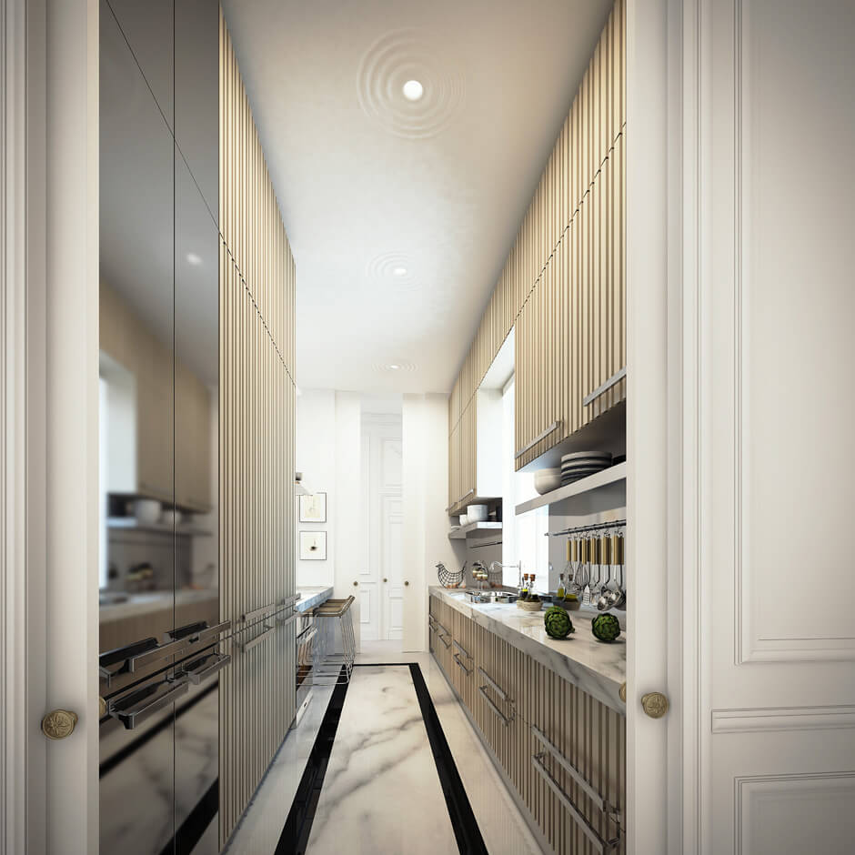 Une cuisine moderne et élégante, en complet accord avec la décoration de cet appartement bourgeois très chic. Retrouvez plus de photos dans l'article !