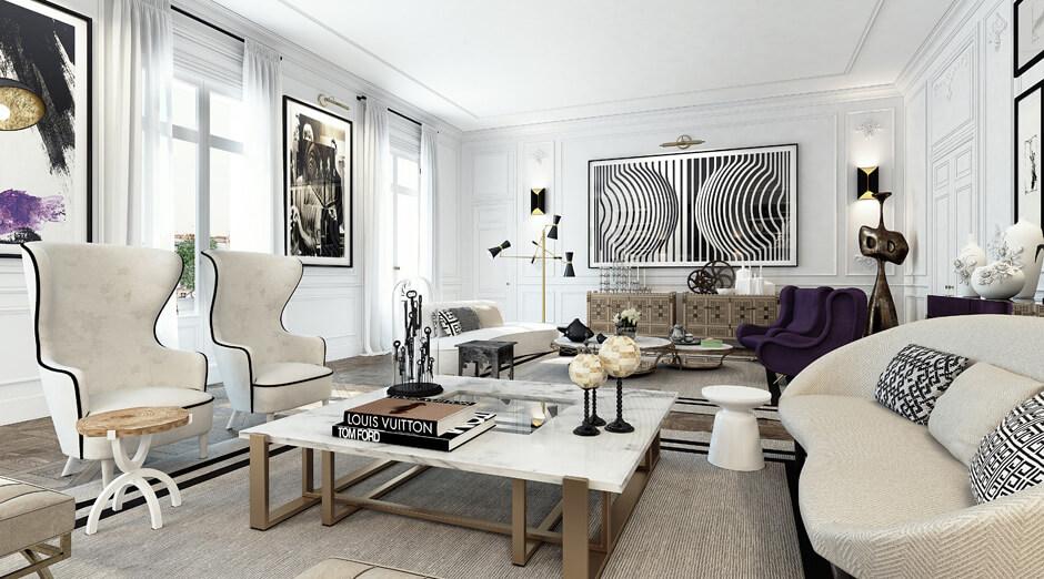 Découvrez la décoration de ce superbe salon bourgeois et contemporain, au plein coeur de Paris. Plus de photos dans l'article !