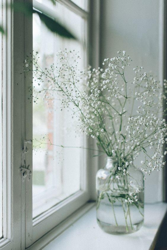 Un gros bouquet de gypsophile, petites fleurs blanches aériennes