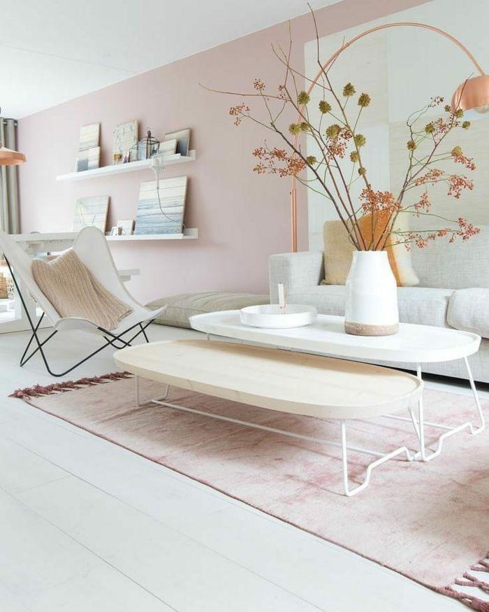 Idée déco pour un salon rose pastel