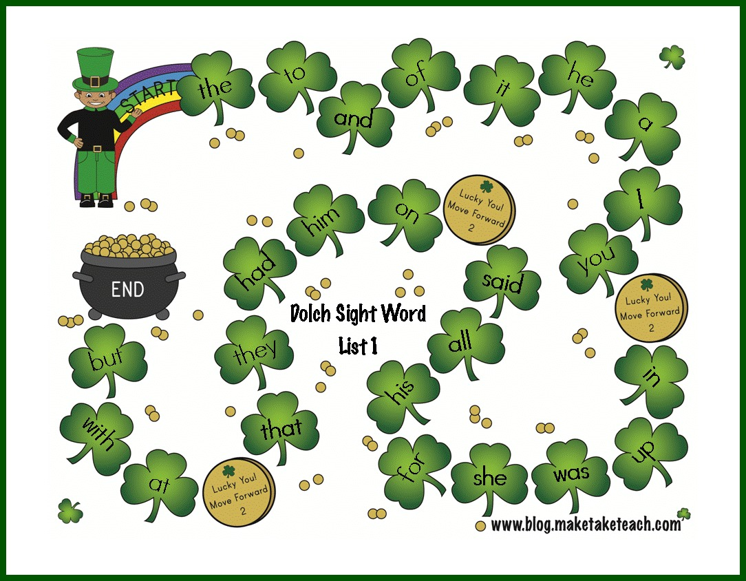 St Patrick S Day Sight Word Game Boards