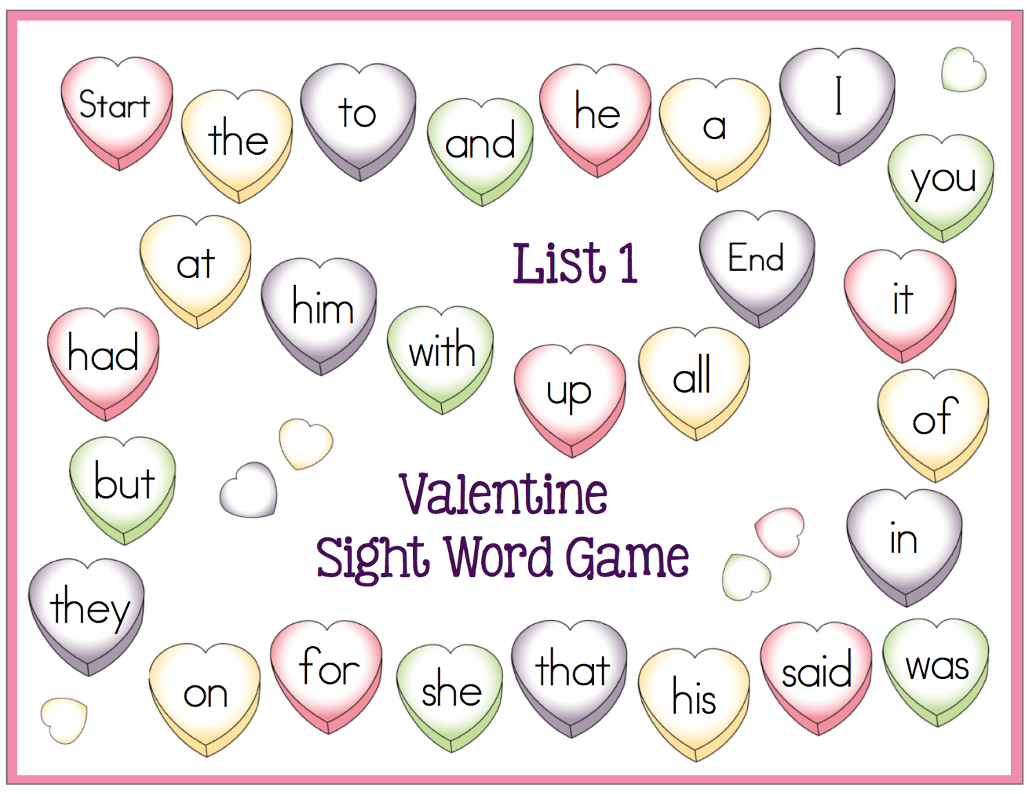 Valentine Sight Word Game Boards Freebie