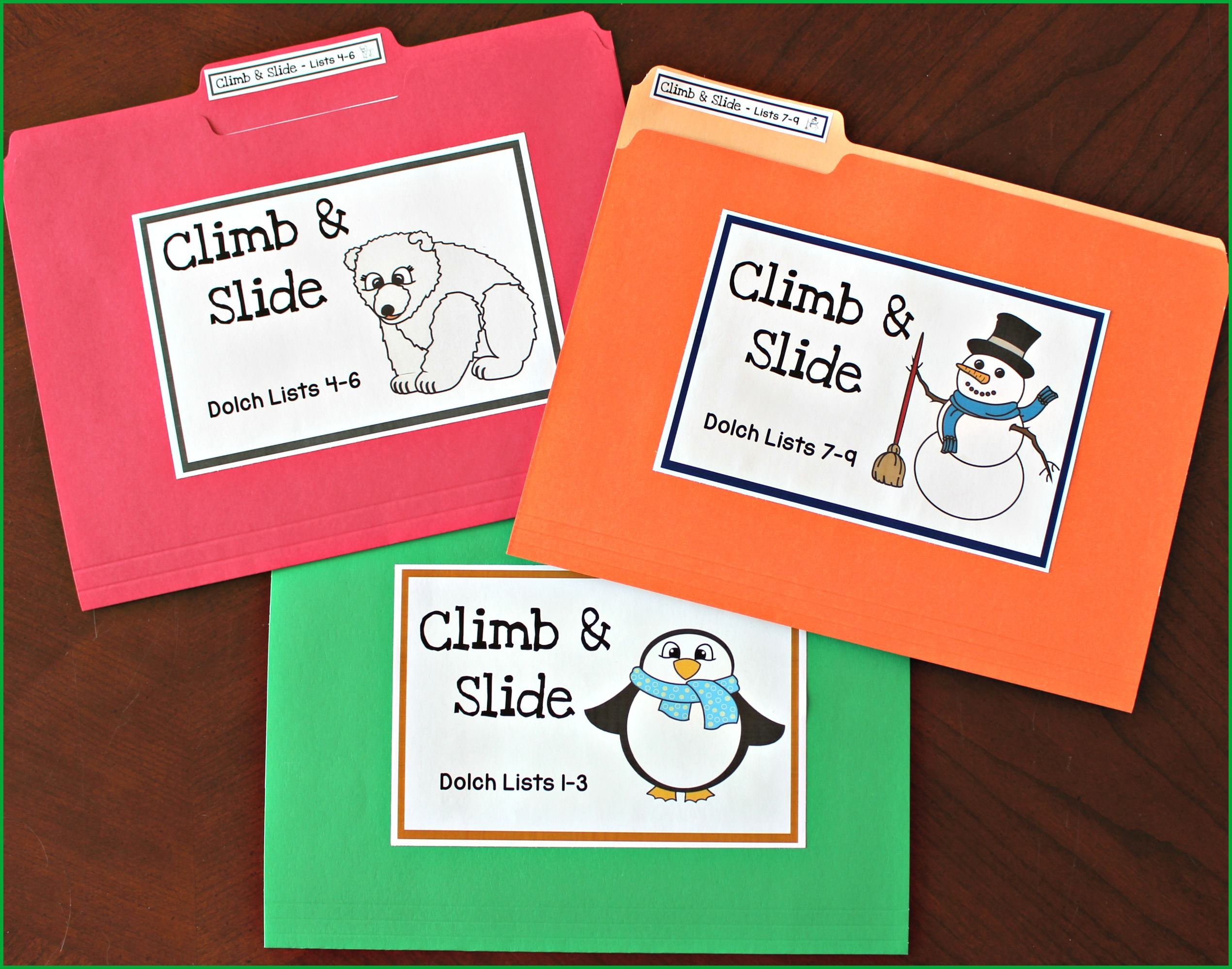 Climb And Slide Activities For Sight Words And Phonics