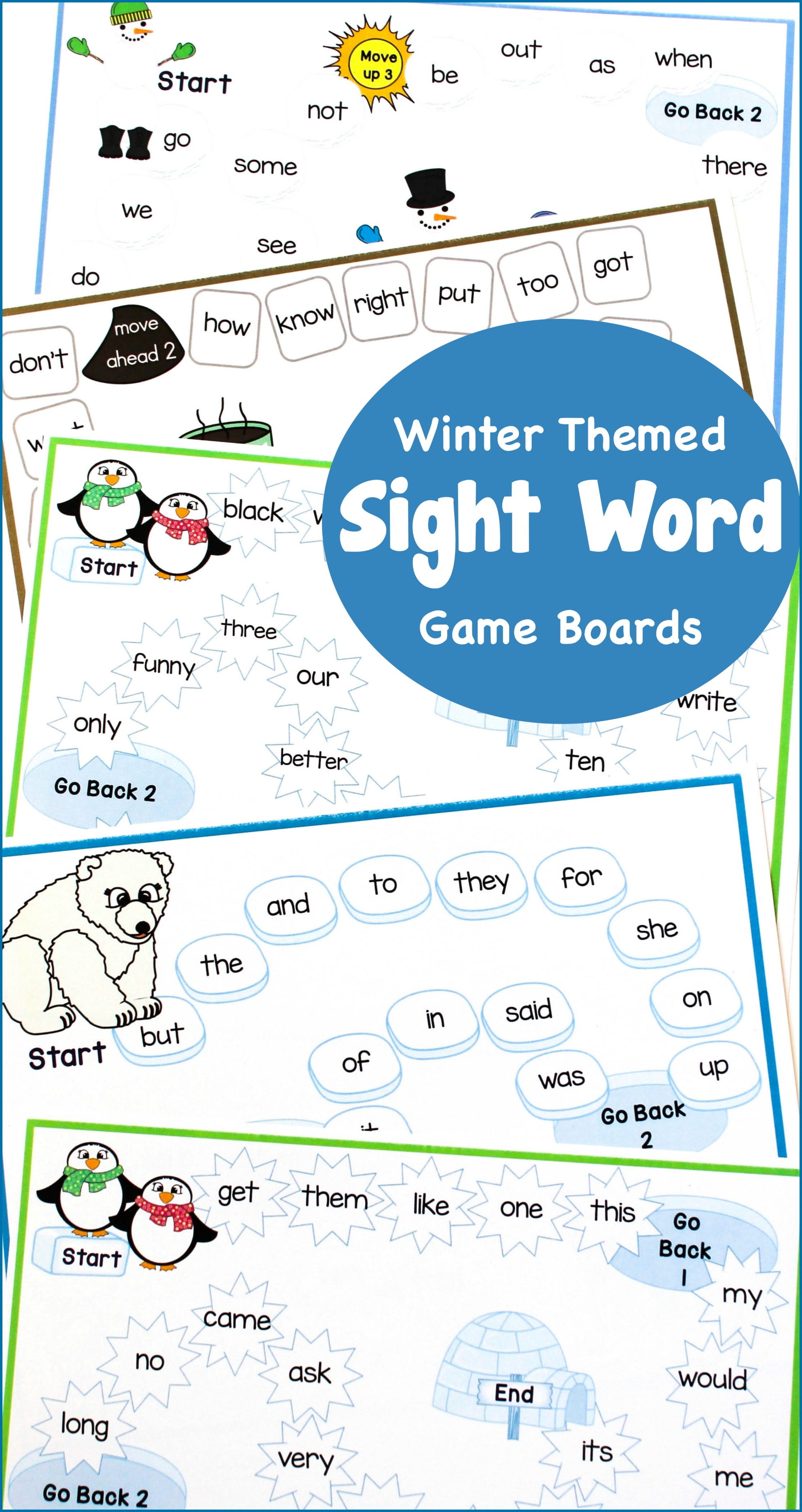 Winter Themed Sight Word Game Boards