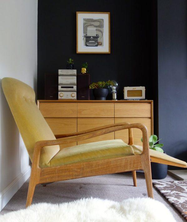 mid century teak recliner