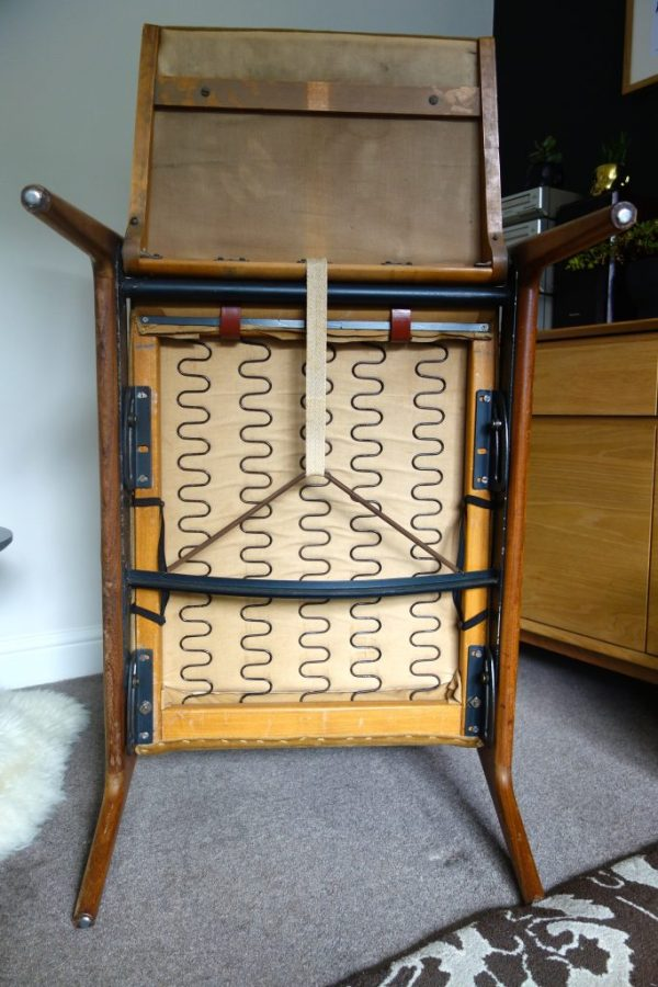 mid century teak chair underside