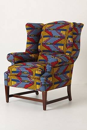 reupholstered armchair in african fabric