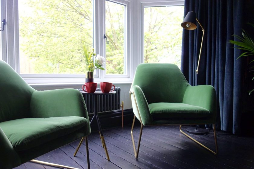 Made.com Green Velvet Frame Armchair