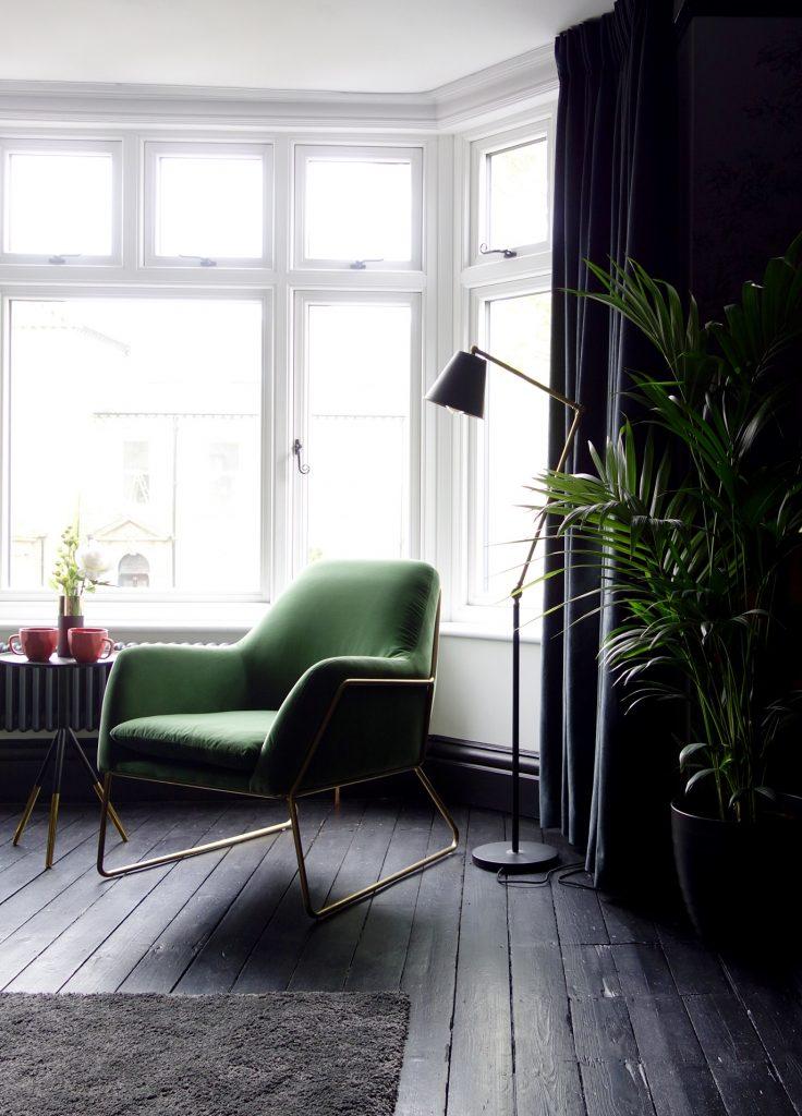 Made.com Grass Green Velvet Brass Armchair