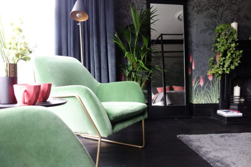 Grass green velvet brass armchair