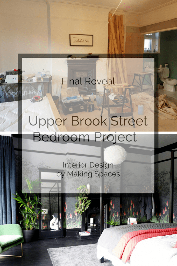 Upper Brook Street Guest Bedroom Final Reveal. An Edwardian guest bedroom is transformed from a beige box to a stunning, magical space. Intrerior Design by Making Spaces #styleitdark