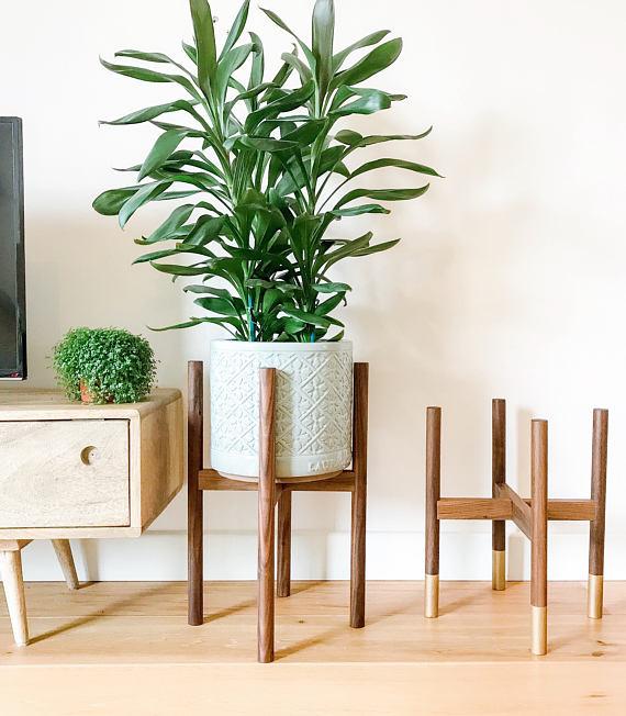 Walnut hardwood mid-century plant stand.