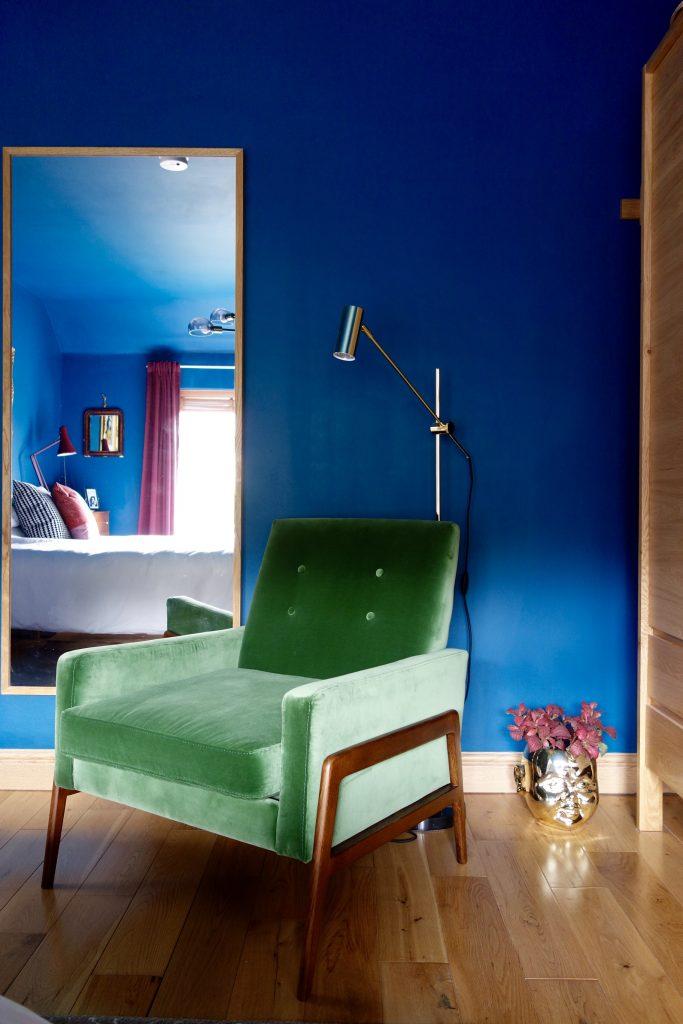 Mid century velvet armchair