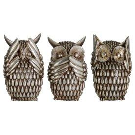 Owls+Polyresin+3+Piece+Sculpture+Set