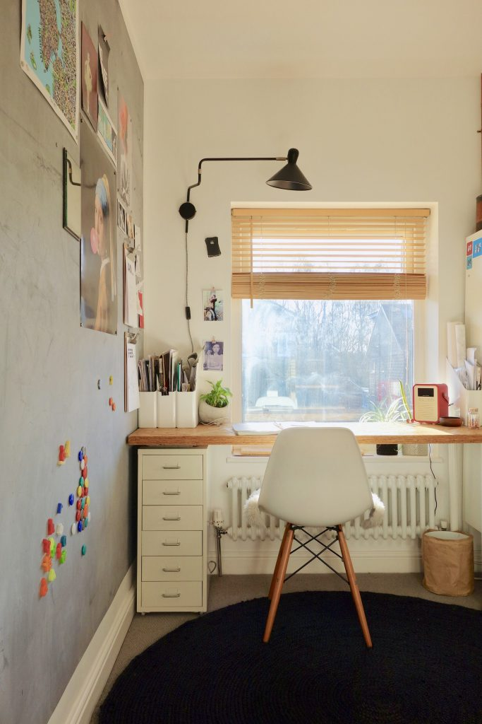 Small home office with magnetic wall