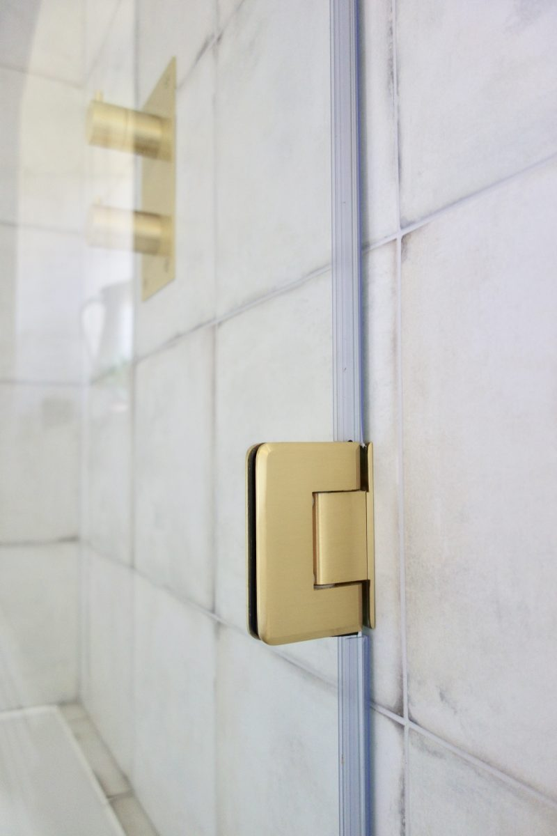 Living House brass hinged shower screen