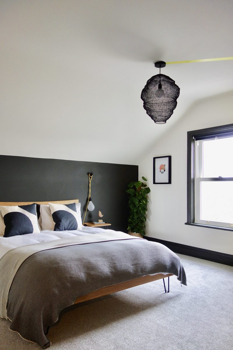 Monochrome Bedroom with pops of yellow