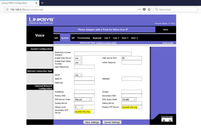 adaptateur PAP2T - system Tab - NTP server